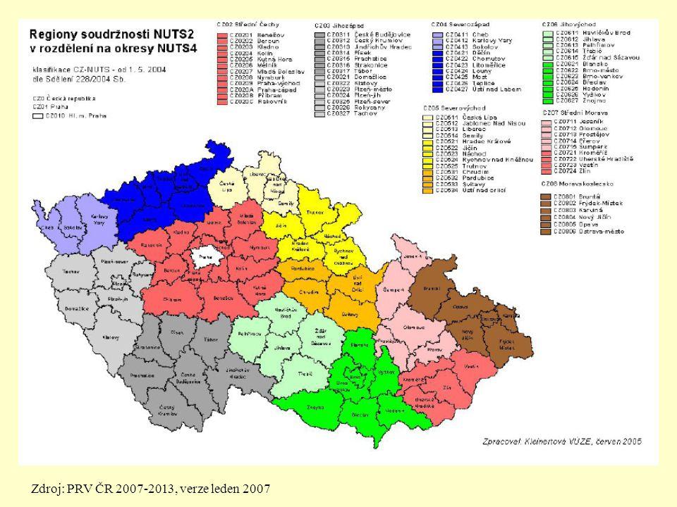 Zdroj: PRV ČR 2007-2013, verze leden 2007