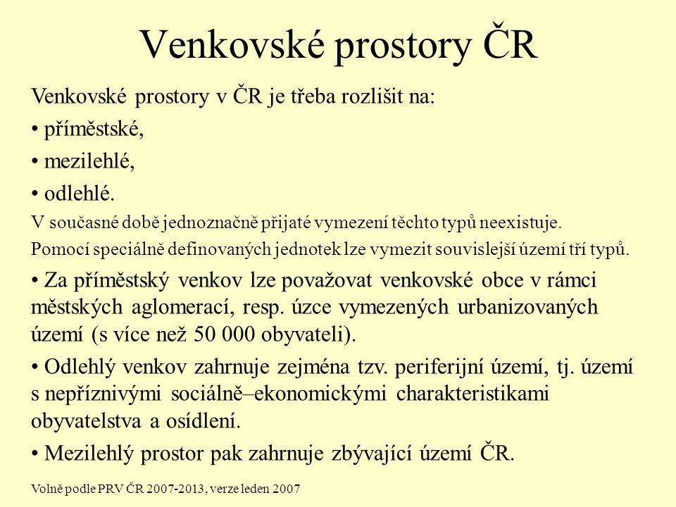Venkovské prostory ČR Venkovské prostory v ČR je třeba rozlišit na: