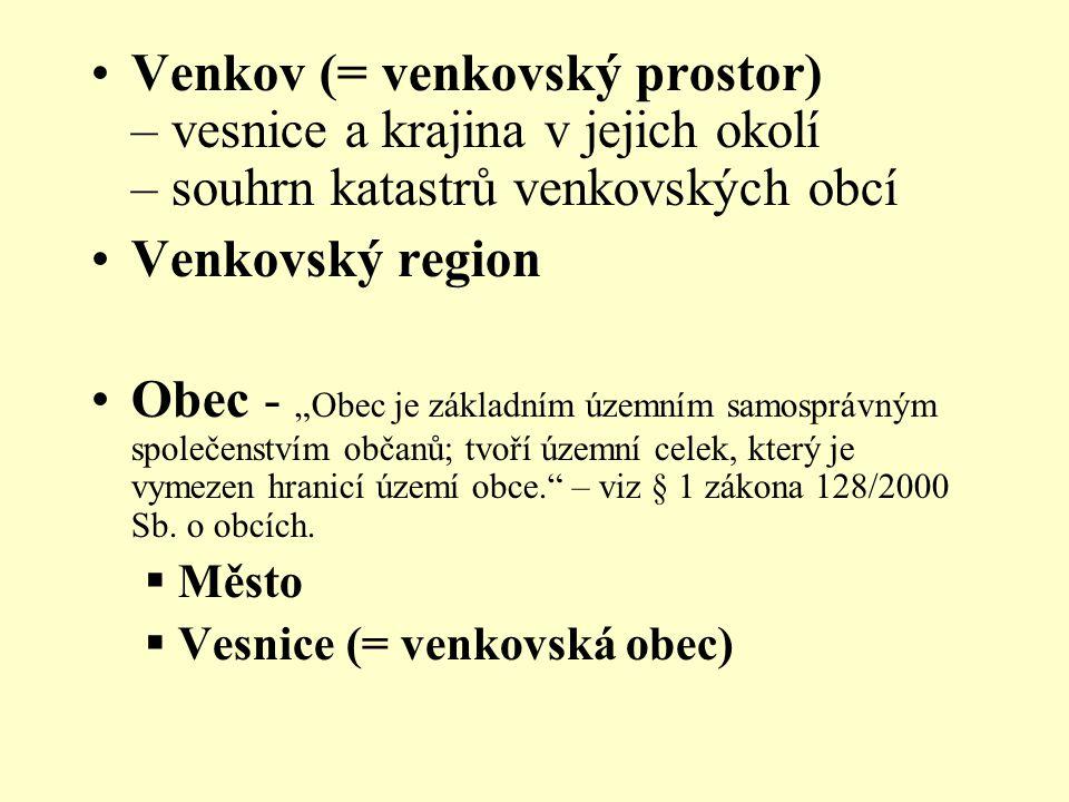 Venkov (= venkovský prostor) – vesnice a krajina v jejich okolí – souhrn katastrů venkovských obcí
