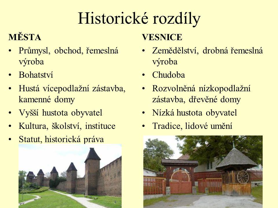 Historické rozdíly MĚSTA Průmysl, obchod, řemeslná výroba Bohatství