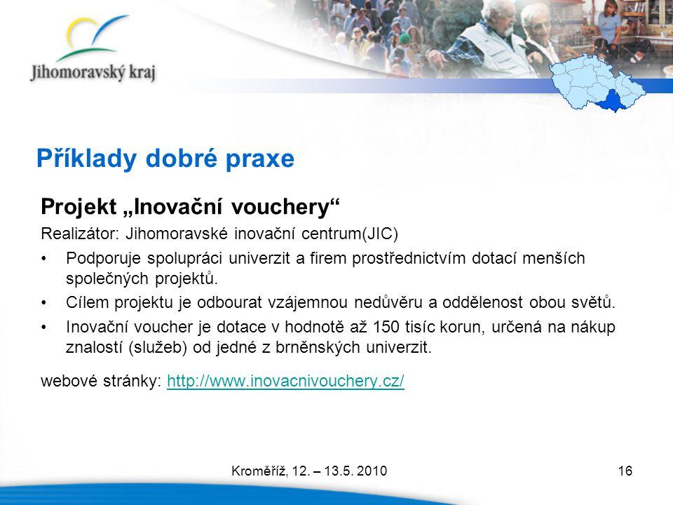 """Příklady dobré praxe Projekt """"Inovační vouchery"""