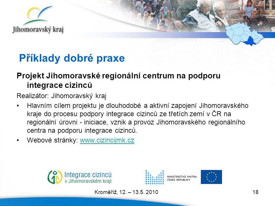 Příklady dobré praxe Projekt Jihomoravské regionální centrum na podporu integrace cizinců. Realizátor: Jihomoravský kraj.