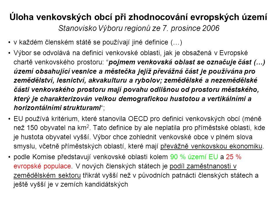 Úloha venkovských obcí při zhodnocování evropských území Stanovisko Výboru regionů ze 7. prosince 2006