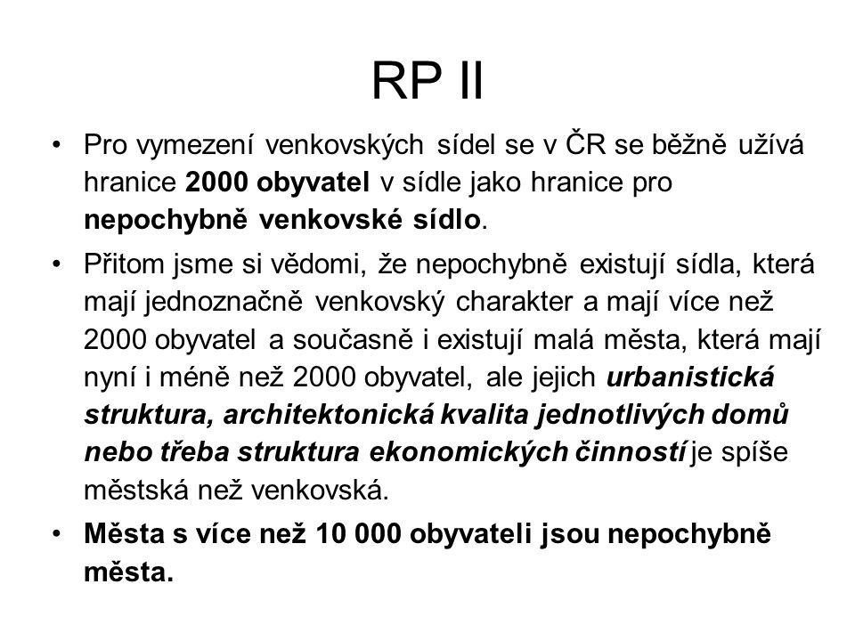RP II Pro vymezení venkovských sídel se v ČR se běžně užívá hranice 2000 obyvatel v sídle jako hranice pro nepochybně venkovské sídlo.