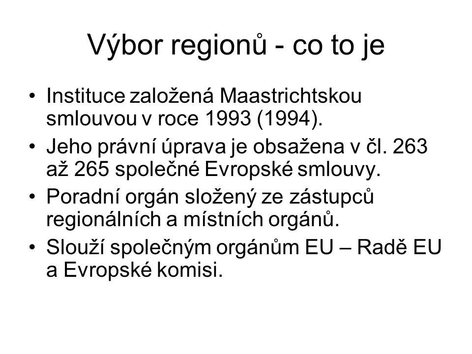 Výbor regionů - co to je Instituce založená Maastrichtskou smlouvou v roce 1993 (1994).