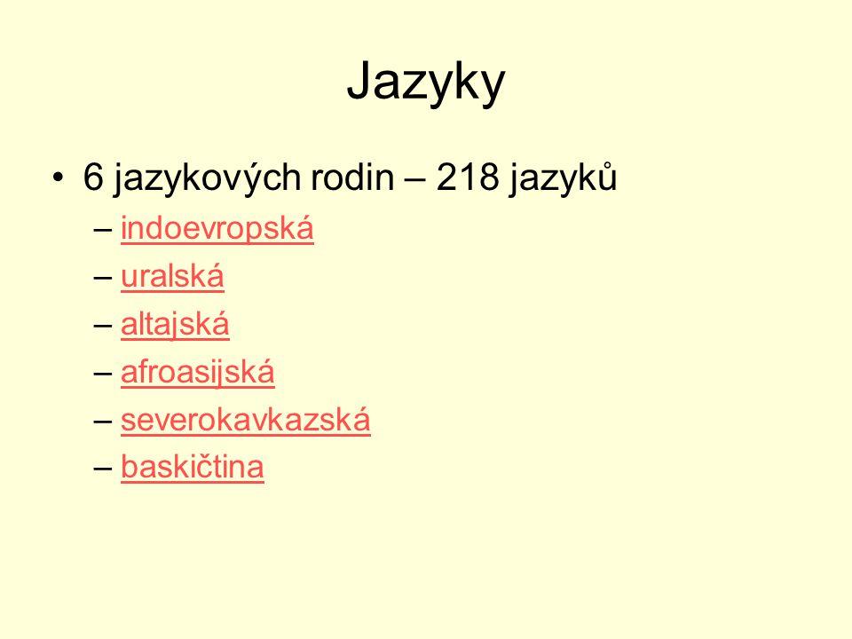 Jazyky 6 jazykových rodin – 218 jazyků indoevropská uralská altajská