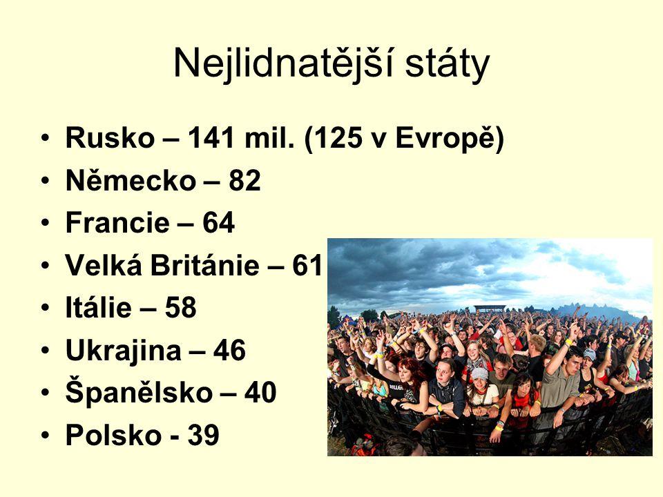 Nejlidnatější státy Rusko – 141 mil. (125 v Evropě) Německo – 82