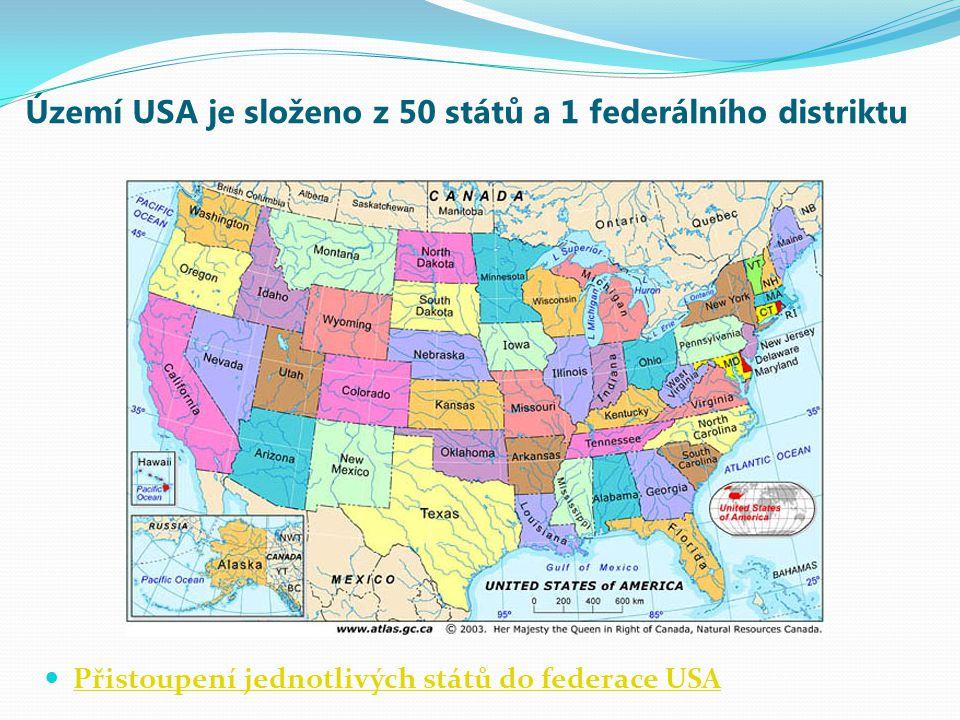Území USA je složeno z 50 států a 1 federálního distriktu