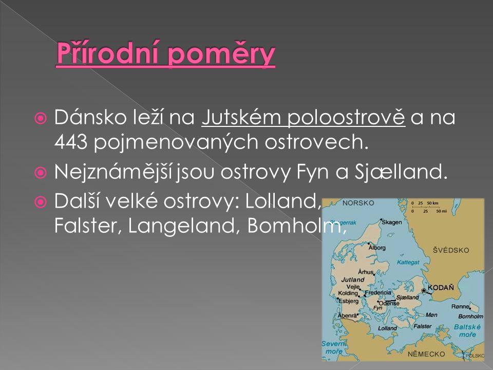Přírodní poměry Dánsko leží na Jutském poloostrově a na 443 pojmenovaných ostrovech. Nejznámější jsou ostrovy Fyn a Sjælland.