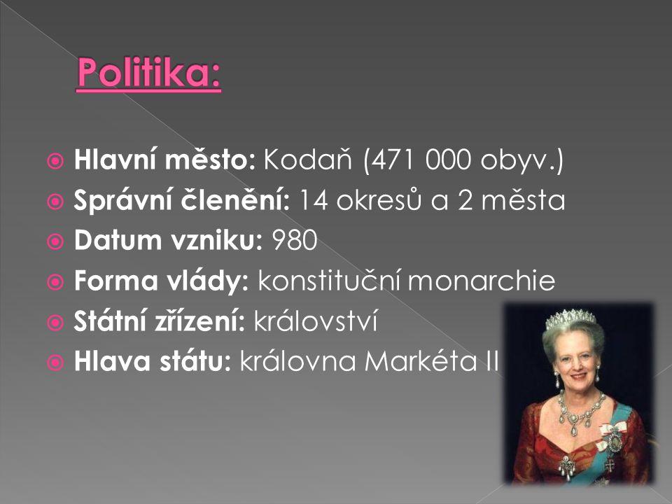 Politika: Hlavní město: Kodaň (471 000 obyv.)