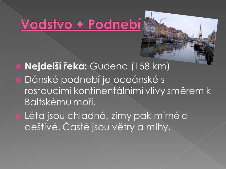 Vodstvo + Podnebí Nejdelší řeka: Gudena (158 km)