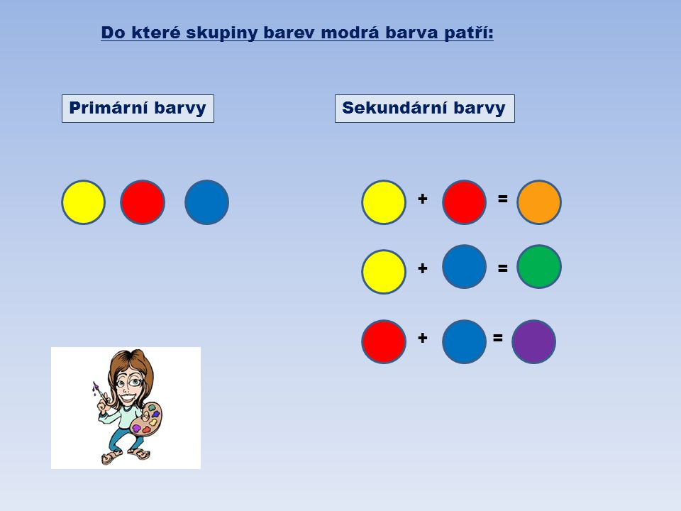 Do které skupiny barev modrá barva patří: