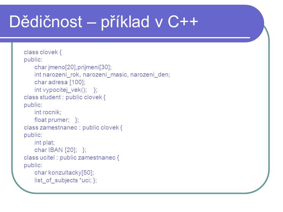 Dědičnost – příklad v C++