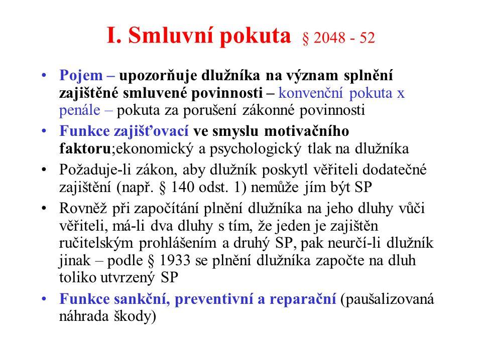 I. Smluvní pokuta § 2048 - 52