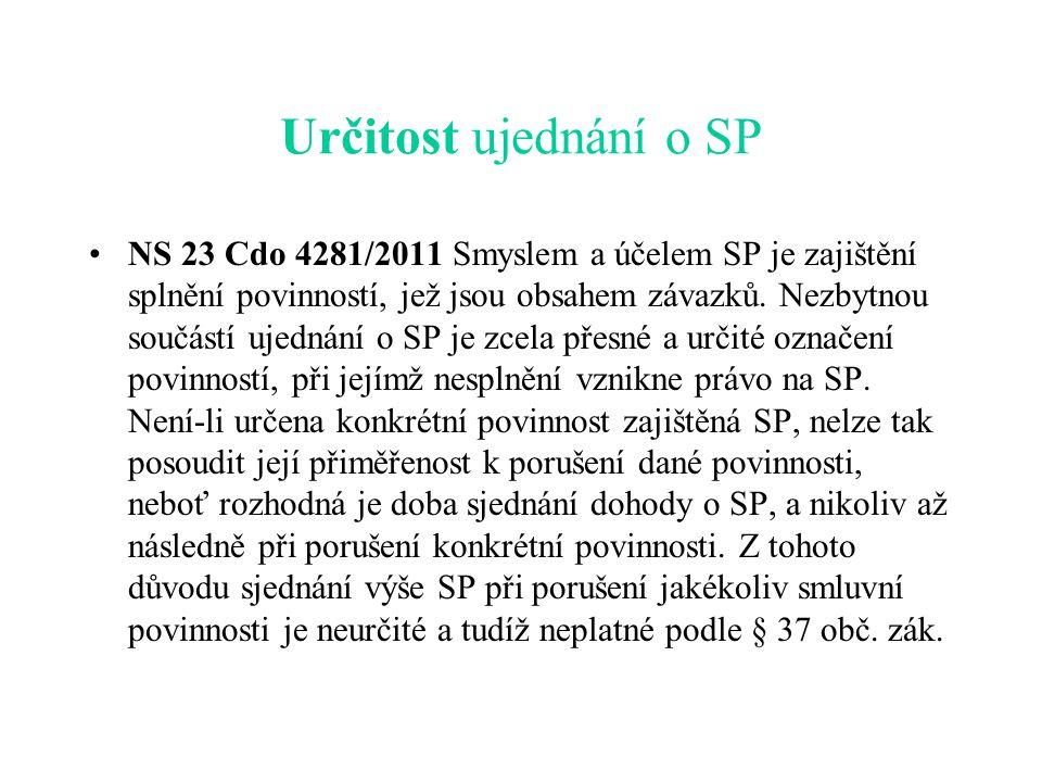 Určitost ujednání o SP