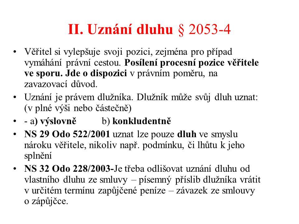II. Uznání dluhu § 2053-4