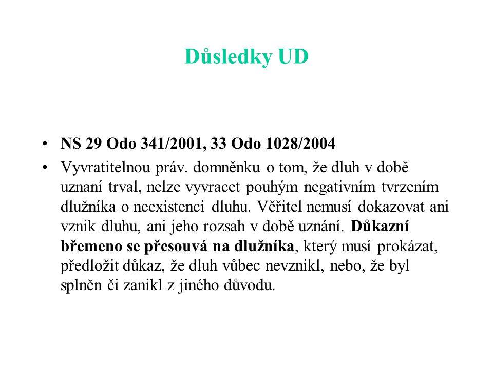 Důsledky UD NS 29 Odo 341/2001, 33 Odo 1028/2004