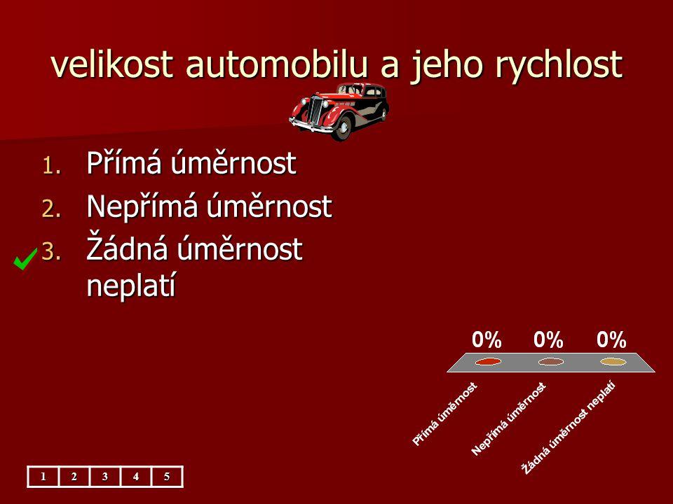 velikost automobilu a jeho rychlost