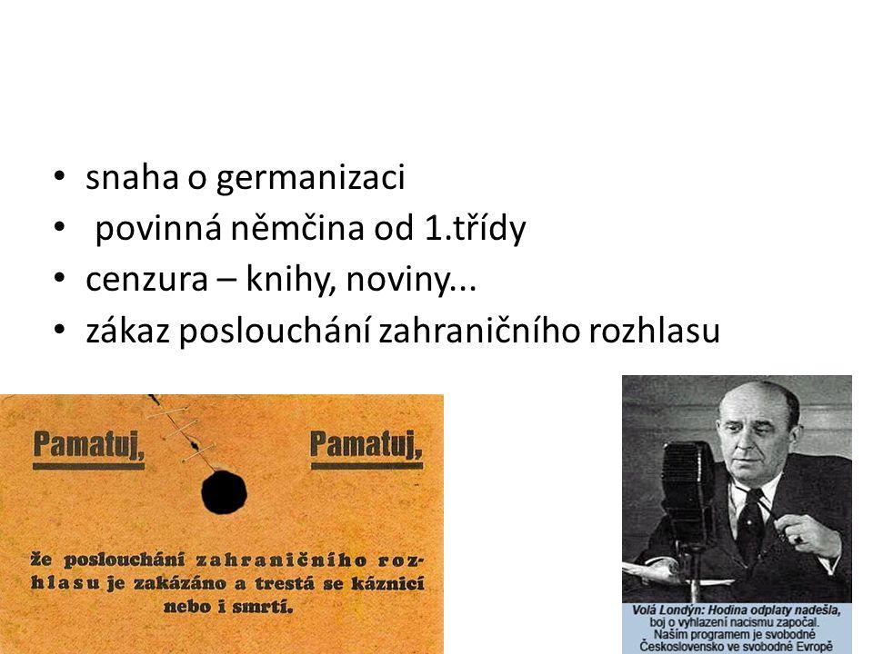 snaha o germanizaci povinná němčina od 1.třídy. cenzura – knihy, noviny...