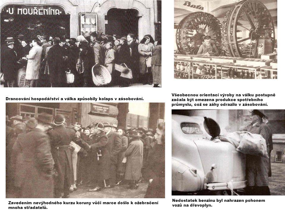 Všeobecnou orientací výroby na válku postupně začala být omezena produkce spotřebního průmyslu, což se záhy odrazilo v zásobování.