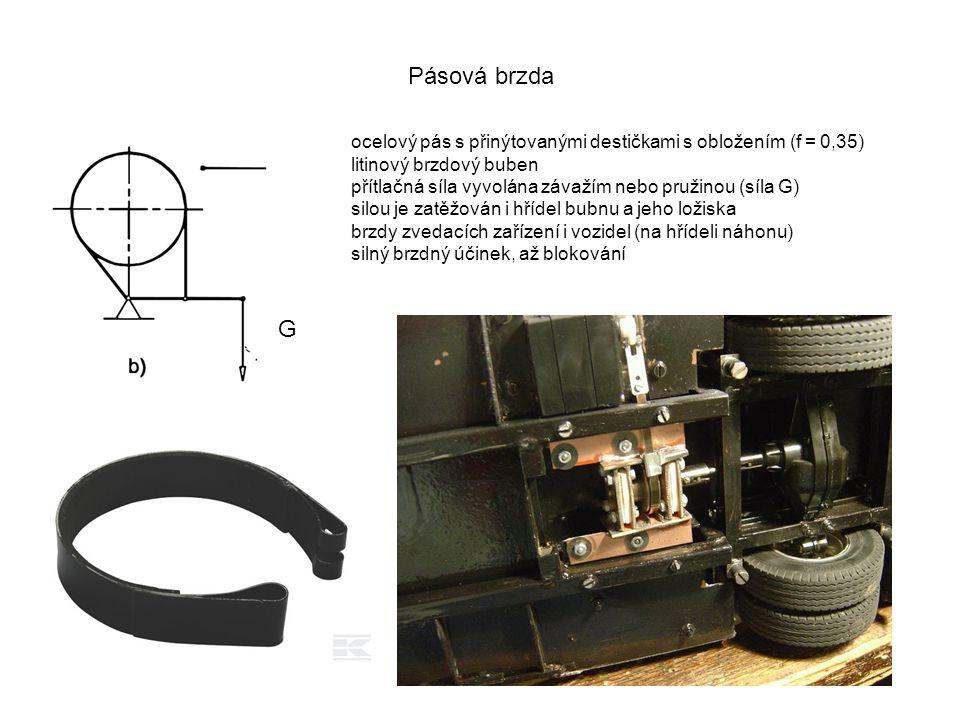Pásová brzda ocelový pás s přinýtovanými destičkami s obložením (f = 0,35) litinový brzdový buben.