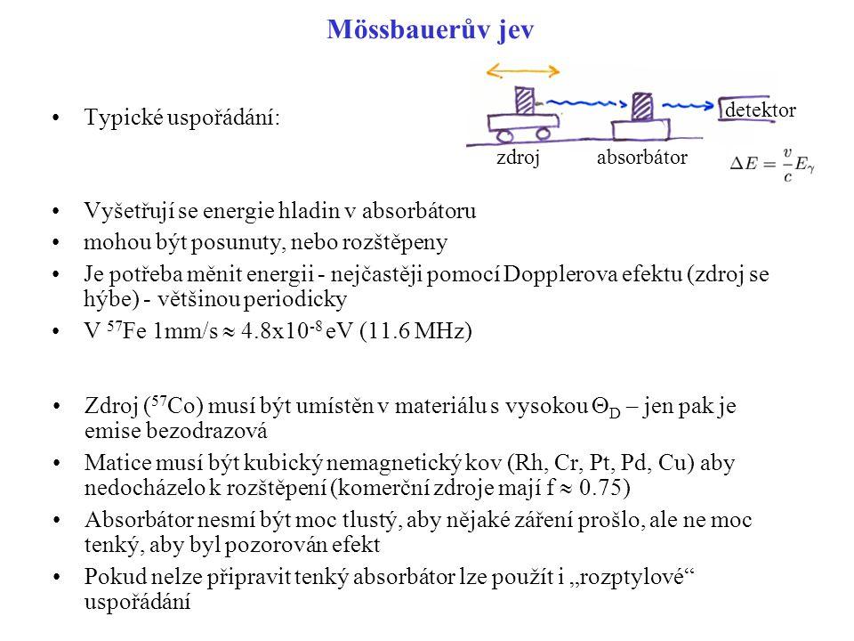 Mössbauerův jev Typické uspořádání: