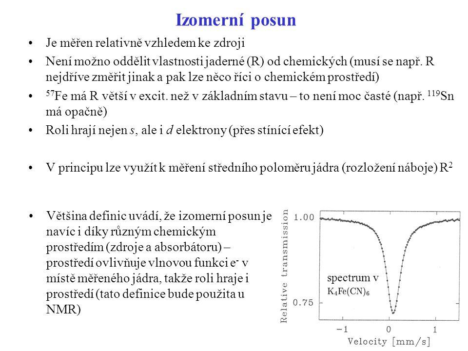 Izomerní posun Je měřen relativně vzhledem ke zdroji