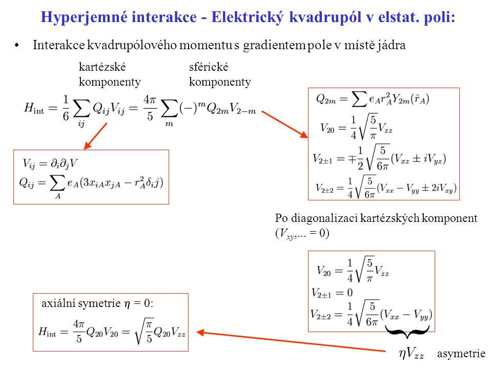 Hyperjemné interakce - Elektrický kvadrupól v elstat. poli: