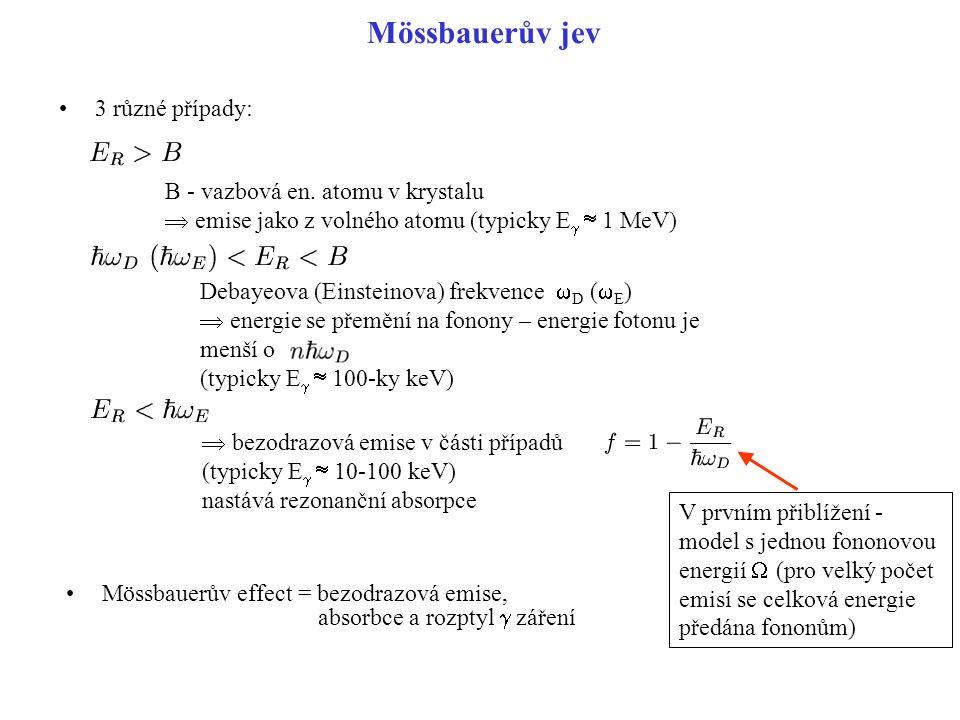 Mössbauerův jev 3 různé případy: B - vazbová en. atomu v krystalu