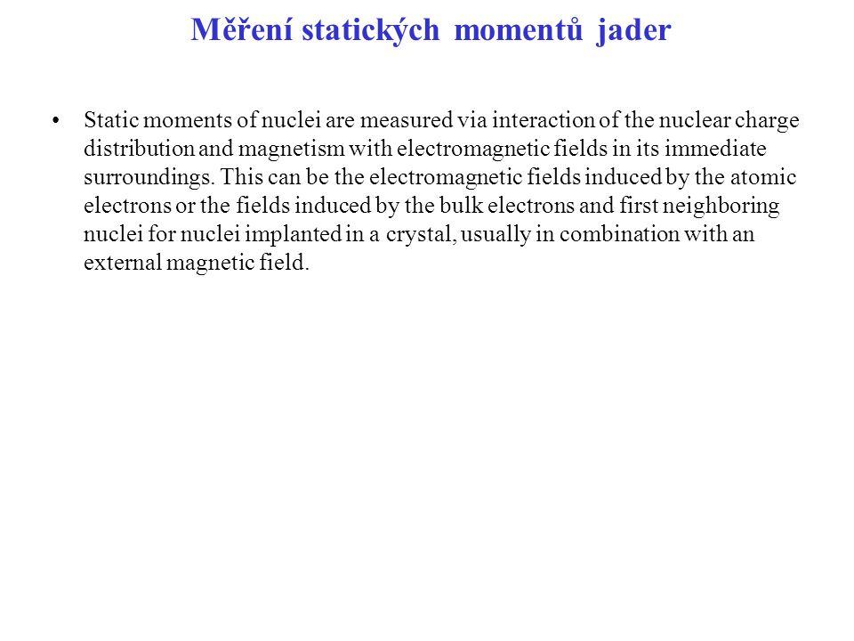 Měření statických momentů jader