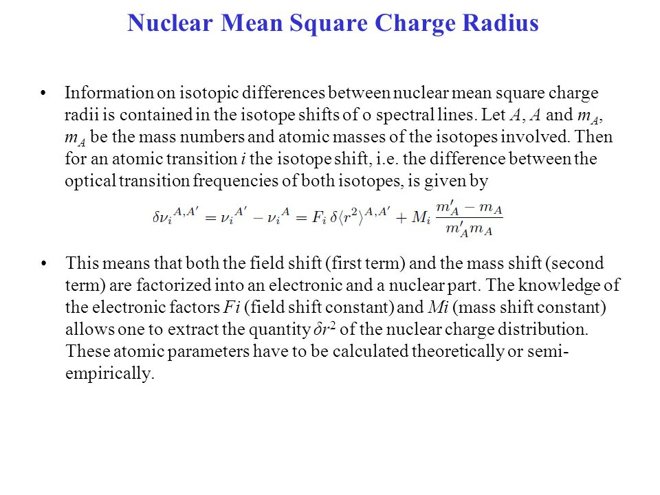 Nuclear Mean Square Charge Radius
