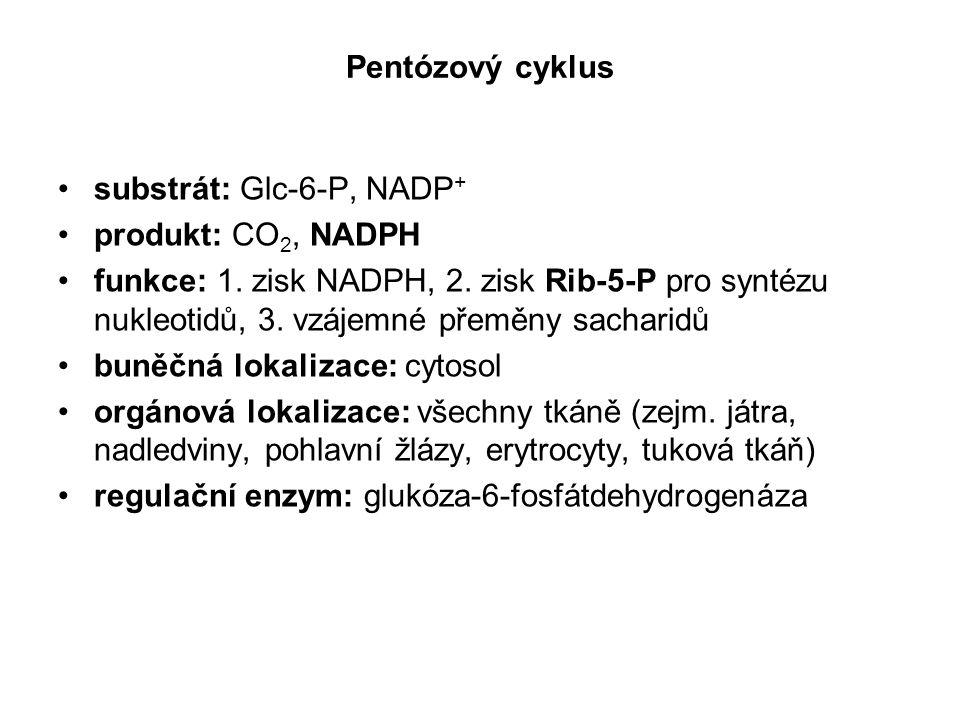 Pentózový cyklus substrát: Glc-6-P, NADP+ produkt: CO2, NADPH.