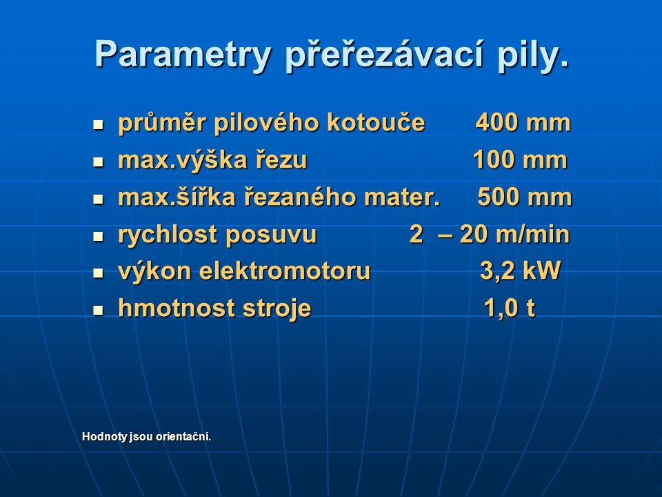 Parametry přeřezávací pily.