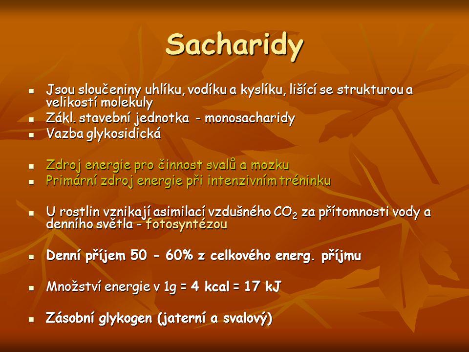 Sacharidy Jsou sloučeniny uhlíku, vodíku a kyslíku, lišící se strukturou a velikostí molekuly. Zákl. stavební jednotka - monosacharidy.