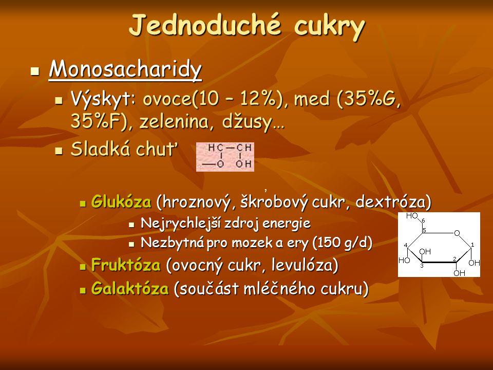Jednoduché cukry Monosacharidy