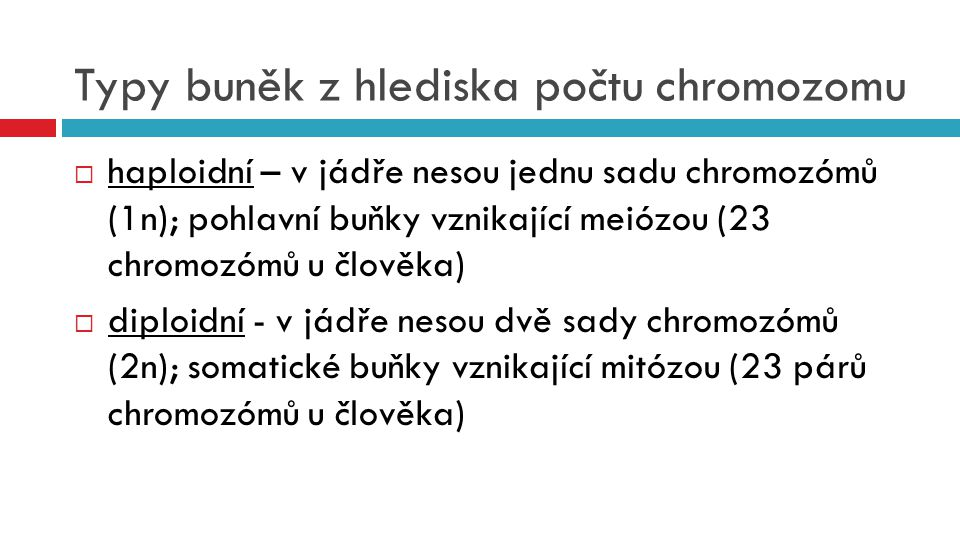 Typy buněk z hlediska počtu chromozomu