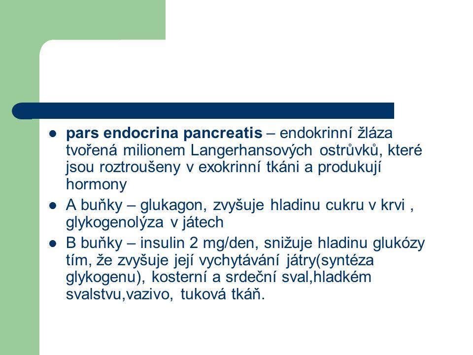 pars endocrina pancreatis – endokrinní žláza tvořená milionem Langerhansových ostrůvků, které jsou roztroušeny v exokrinní tkáni a produkují hormony