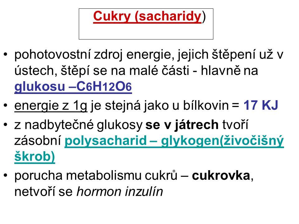 Cukry (sacharidy) pohotovostní zdroj energie, jejich štěpení už v ústech, štěpí se na malé části - hlavně na glukosu –C6H12O6.