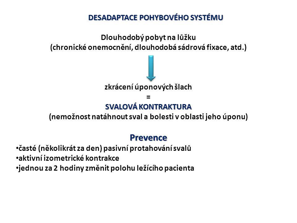 Prevence DESADAPTACE POHYBOVÉHO SYSTÉMU Dlouhodobý pobyt na lůžku