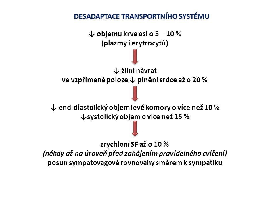 DESADAPTACE TRANSPORTNÍHO SYSTÉMU ↓ objemu krve asi o 5 – 10 %