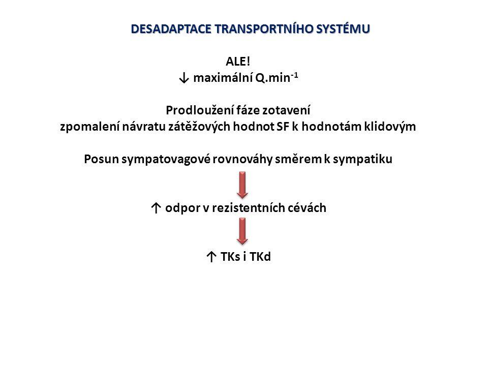 DESADAPTACE TRANSPORTNÍHO SYSTÉMU ALE! ↓ maximální Q.min-1