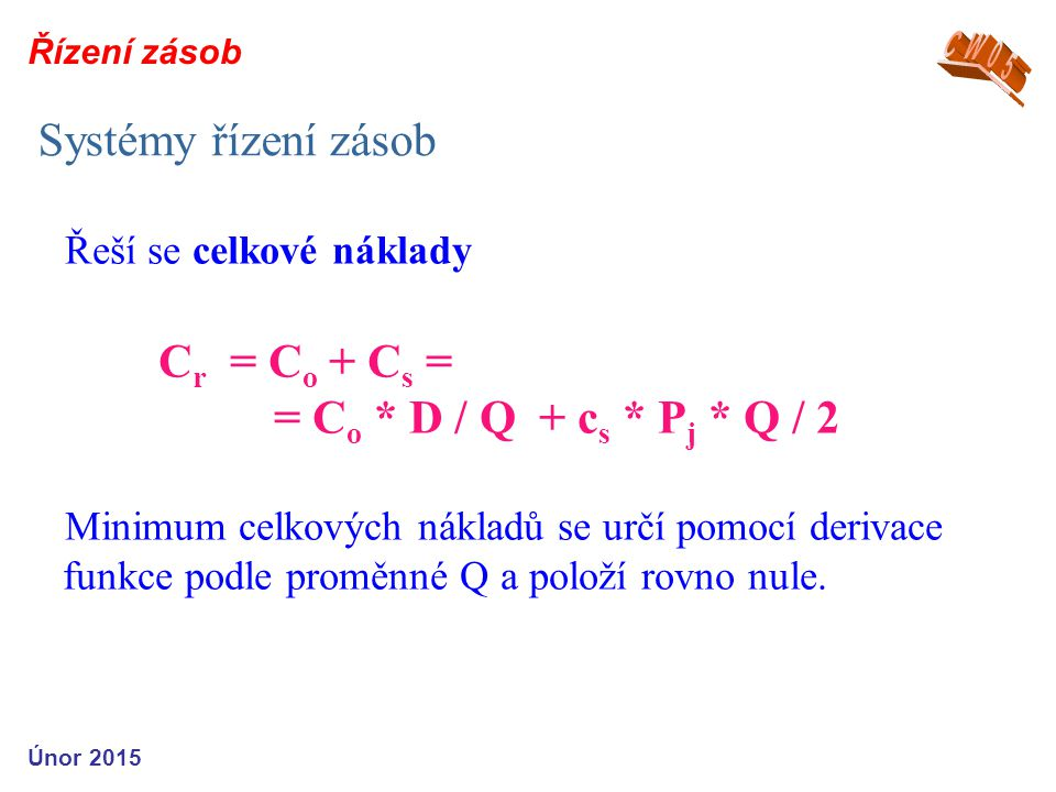 Systémy řízení zásob Cr = Co + Cs = = Co * D / Q + cs * Pj * Q / 2