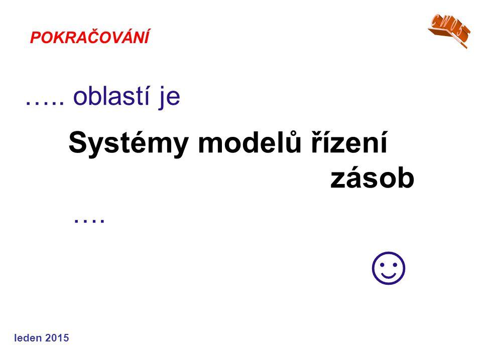 ….. oblastí je Systémy modelů řízení zásob …. ☺