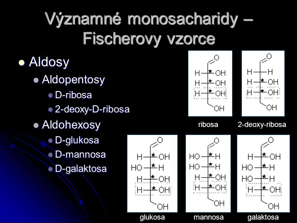 Významné monosacharidy – Fischerovy vzorce