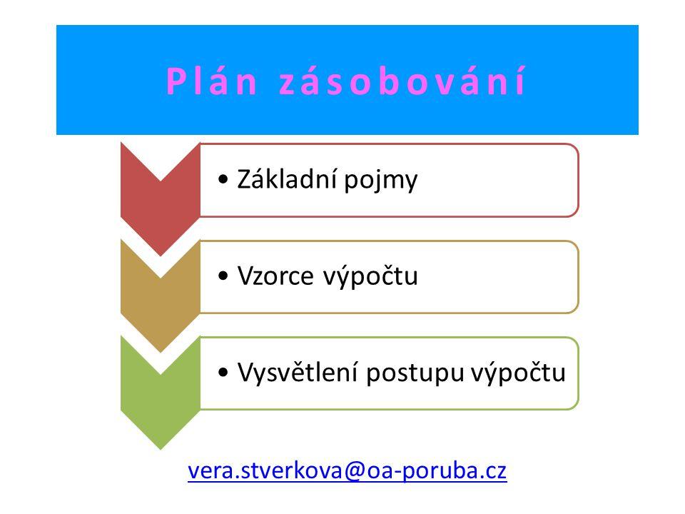 Plán zásobování Základní pojmy Vzorce výpočtu