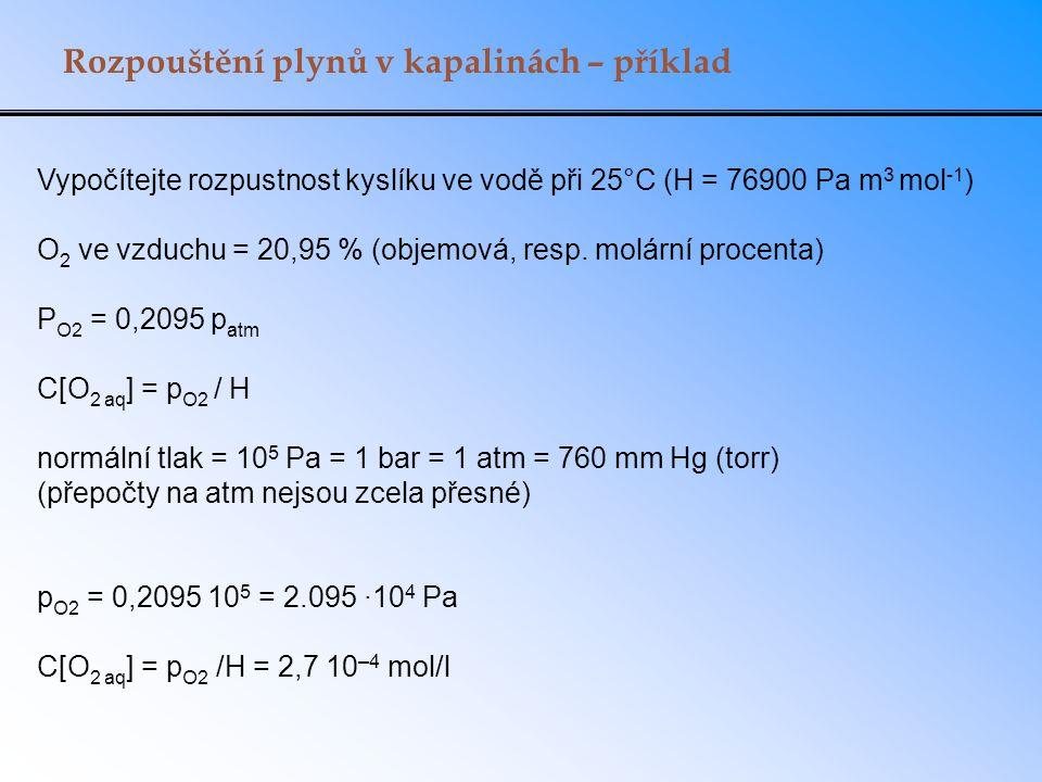 Rozpouštění plynů v kapalinách – příklad