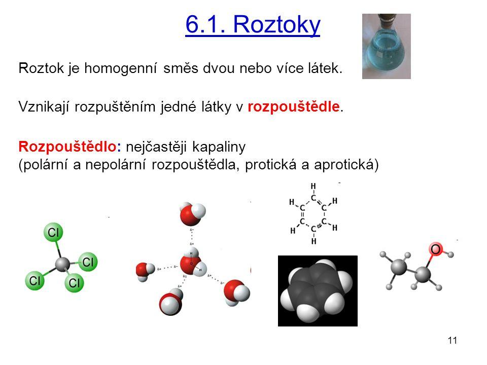 6.1. Roztoky Roztok je homogenní směs dvou nebo více látek.