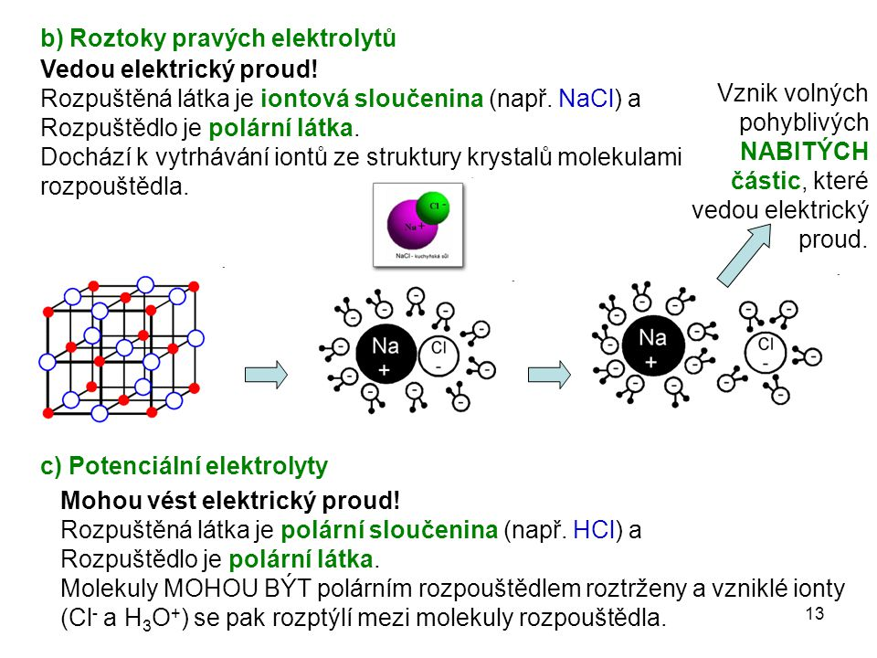 b) Roztoky pravých elektrolytů
