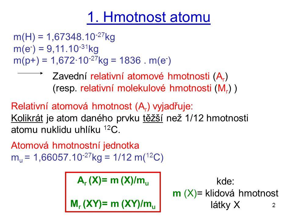 m (X)= klidová hmotnost látky X