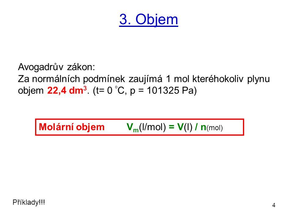 3. Objem Avogadrův zákon: